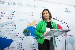 La directora de Desarrollo Global de ISGlobal, Leire Pajín, tras recoger el Premio 25 años Farmmaundi a la Investigación.