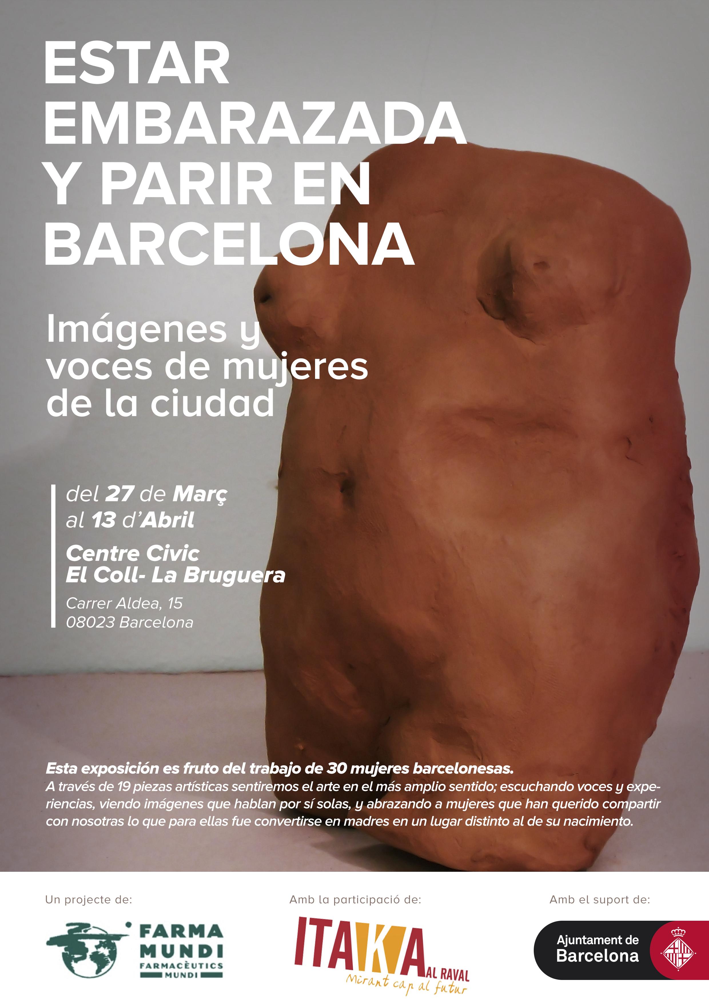 Exposición Estar embarazada y parir en Barcelona, organizada por Farmamundi