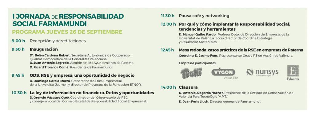 Programa de la I Jornada Farmamundi de Responsabilidad Social