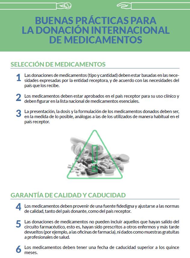 Claves de las buenas prácticas para las donaciones internacionales de medicamentos