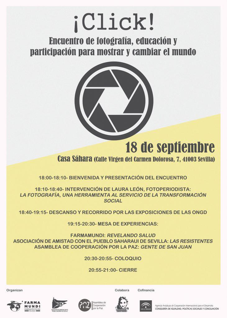 Cartel informativo del evento Click en Sevilla sobre fotografía social