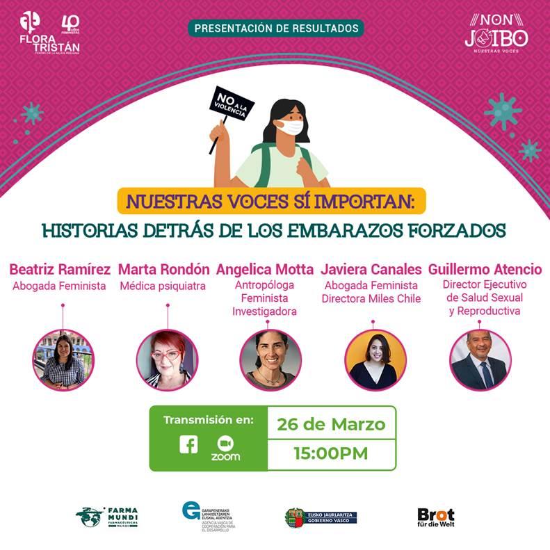 """Webinar Perú   Flora Tristán presenta el estudio """"Nuestras voces si importan: historias detrás de los embarazos forzados"""""""